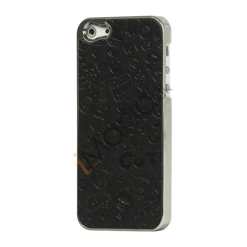 Billede af Tegneserie Graffiti Læder Coated Hard Case til iPhone 5 - Sort
