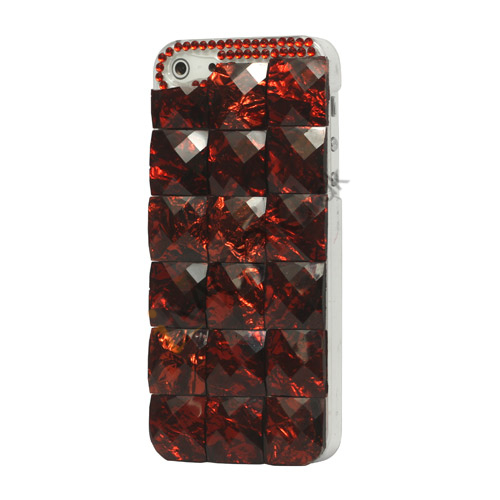 Square Gem Stone Smykkesten Hard Case iPhone 5 cover - Wine Red