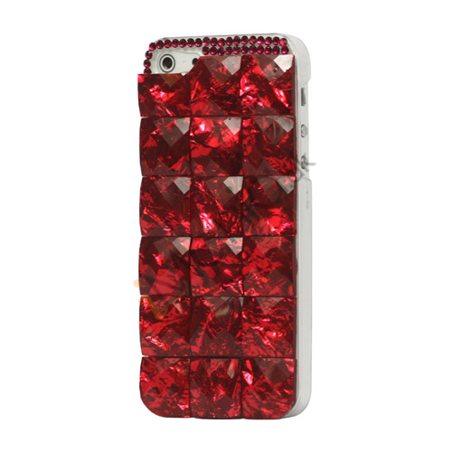 Square Gem Stone Smykkesten Hard Case iPhone 5 cover - Rød