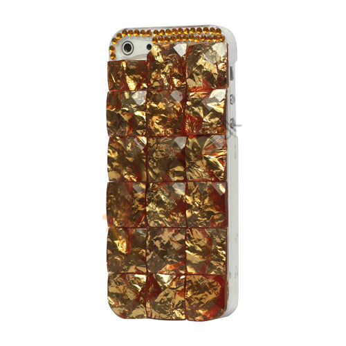 Square Gem Stone Smykkesten Hard Case iPhone 5 cover - Gold