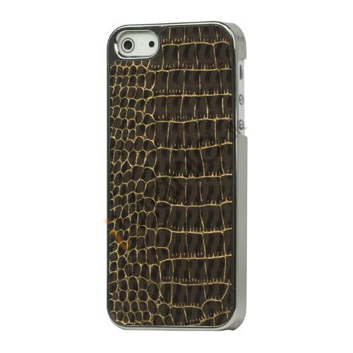 Image of   Krokodille Leather Skin Metalbelagt Hard Case iPhone 5 cover - Brun