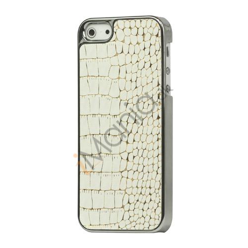 Image of   Krokodille Leather Skin Metalbelagt Hard Case iPhone 5 cover - Hvid