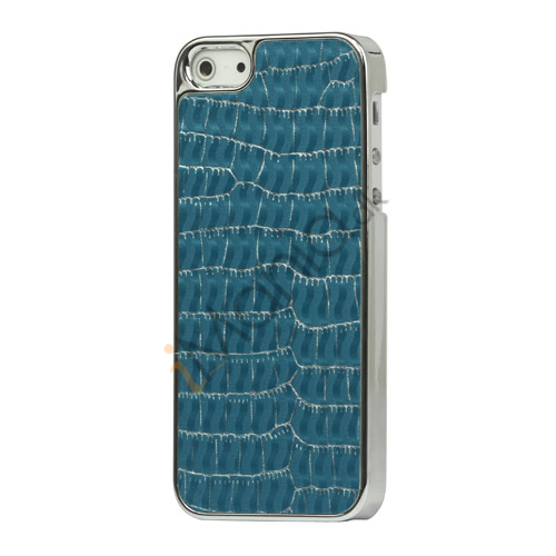 Image of   Krokodille Leather Skin Metalbelagt Hard Case iPhone 5 cover - Blå
