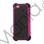 Billede af Lodrette striber Plastic og Silikone Hybrid Case til iPhone 5 - Sort / Rose