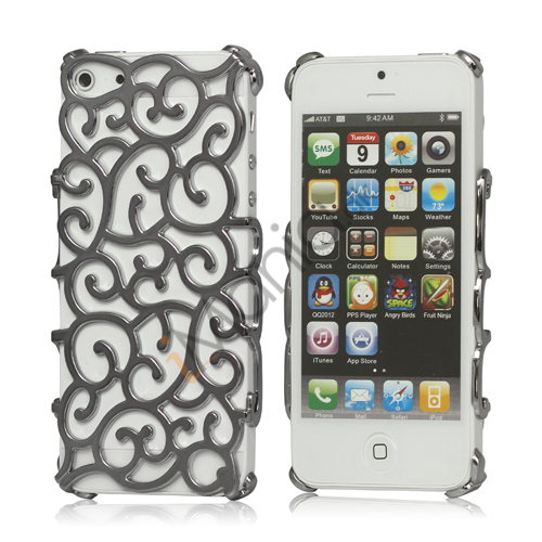 Hollow Palace Blomster Mønster Metalbelagt Hard Case iPhone 5 cover - Grå