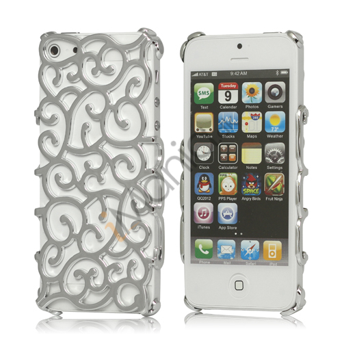Hollow Palace Blomster Mønster Metalbelagt Hard Case iPhone 5 cover - Sølv