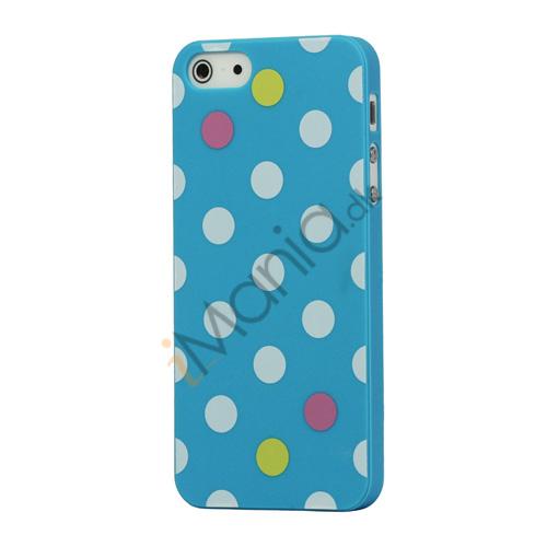 Billede af Farvet Polkaprik Hard Case iPhone 5 cover - Blå