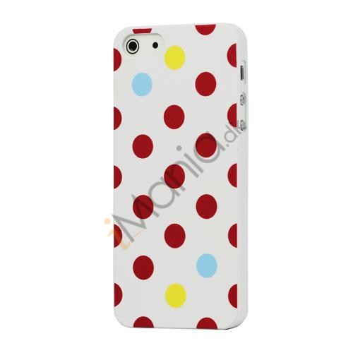 Billede af Farvet Polkaprik Hard Case iPhone 5 cover - Hvid