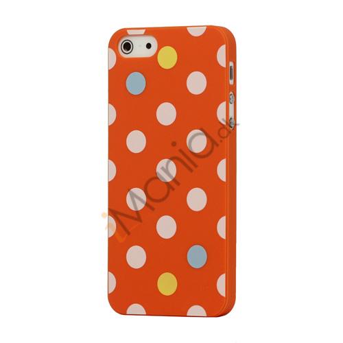 Image of   Farvet Polkaprik Hard Case iPhone 5 cover - Orange