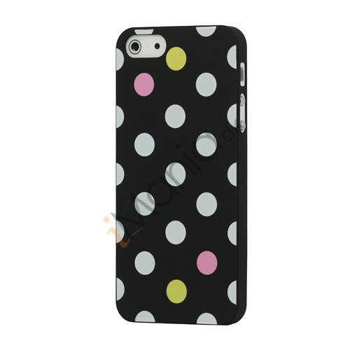 Image of   Farvet Polkaprik Hard Case iPhone 5 cover - Sort