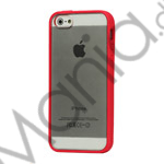 TPU Bumper Ramme Clear Transparent Plastic Combo Beskyttelses Case til iPhone 5 - Red