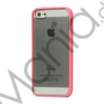 TPU Bumper Ramme Clear Transparent Plastic Combo Beskyttelses Case til iPhone 5 - Pink