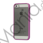 TPU Bumper Ramme Clear Transparent Plastic Combo Beskyttelses Case til iPhone 5 - Lilla