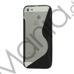 Image of   Populært S-line Plastic and TPU Combo Cover Case til iPhone 5 - Transparent / Sort