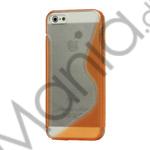 Image of   Populært S-line Plastic and TPU Combo Cover Case til iPhone 5 - Transparent / Orange