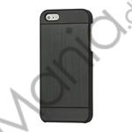 Image of   Deluxe Børstet Metal Hard Beskyttelses Case iPhone 5 cover - Sort