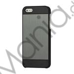 Image of   Deluxe Børstet Metal Hard Beskyttelses Case iPhone 5 cover - Sort / Grå