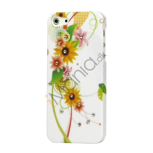 Image of   Gummibelagt Blomster Smykkesten Hard Case til iPhone 5