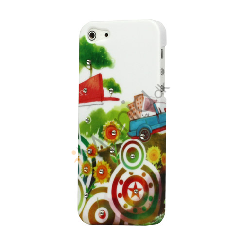 Circle Flora Smykkesten Inlaid iPhone 5 Hard Plastic Case