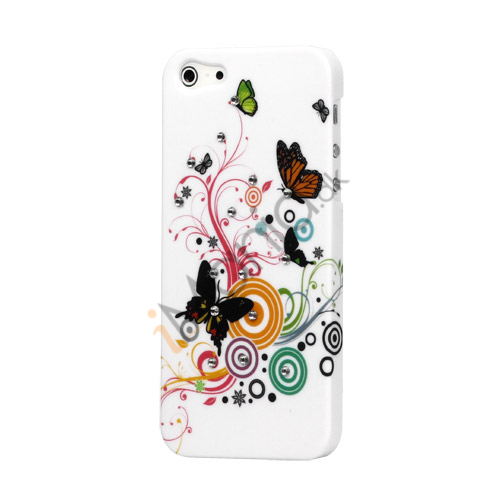 Butterflies Flora iPhone 5 Smykkesten Plastic Cover Case