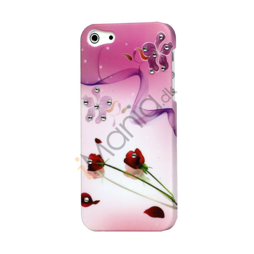 Red Roses og Ribbon Diamond Hard Plastic Case til iPhone 5