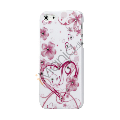 Diamante Sweet Heart og Blomster Hard Shell Case til iPhone 5