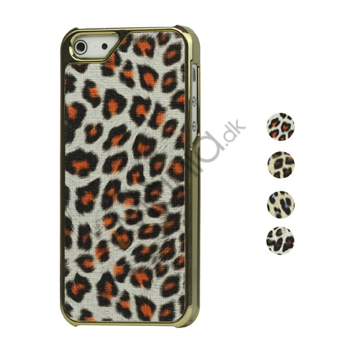 Image of   Leopard Læder Belagt Metalbelagt Hard Plastic Case til iPhone 5