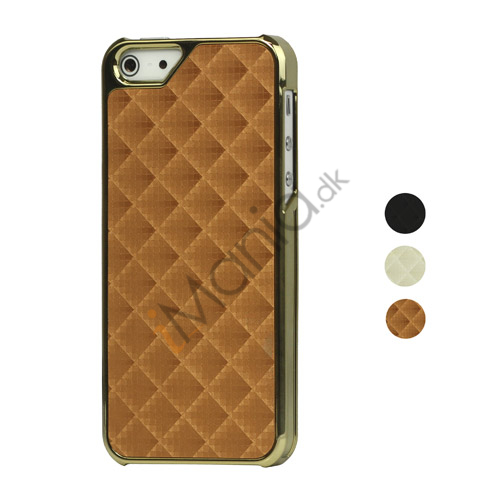 Image of   3D Effect Grid Leather Coated Plating Hard iPhone 5 cover