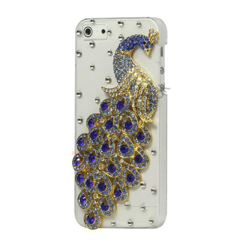 Håndlavet 3D Peacock Bling Diamond Crystal Case iPhone 5 cover - Lilla