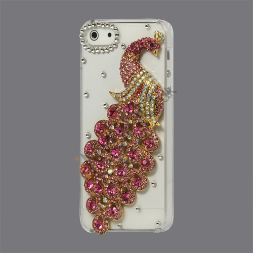 Håndlavet 3D Peacock Bling Diamond Crystal Case iPhone 5 cover - Rose