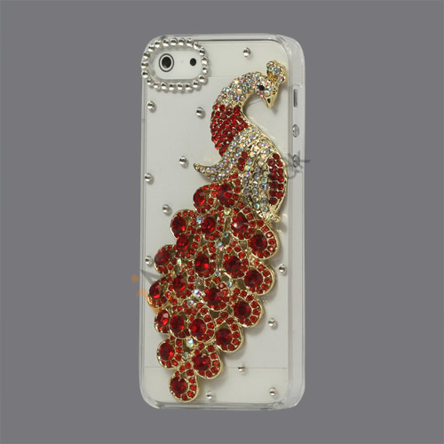 Håndlavet 3D Peacock Bling Diamond Crystal Case iPhone 5 cover - Rød