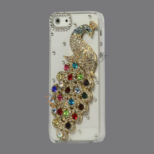 Håndlavet 3D Peacock Bling Diamond Crystal Case iPhone 5 cover - Farvelagt