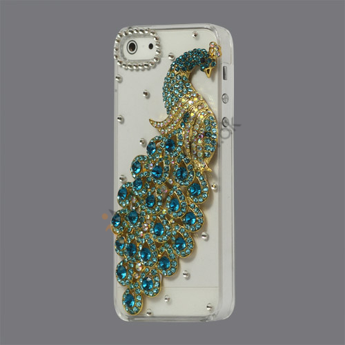 Håndlavet 3D Peacock Bling Diamond Crystal Case iPhone 5 cover - Blå