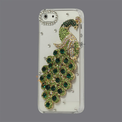 Håndlavet 3D Peacock Bling Diamond Crystal Case iPhone 5 cover - Grøn