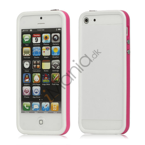 Plastic  and  TPU Hybrid Bumper Ramme Case til iPhone 5 - Rose / Hvid