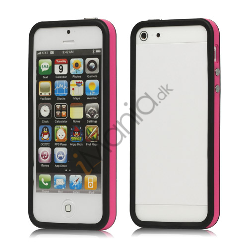 Plastic  and  TPU Hybrid Bumper Ramme Case til iPhone 5 - Rose / Sort