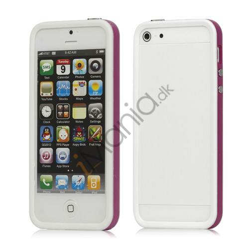 Plastic  and  TPU Hybrid Bumper Ramme Case til iPhone 5 - Lilla / Hvid