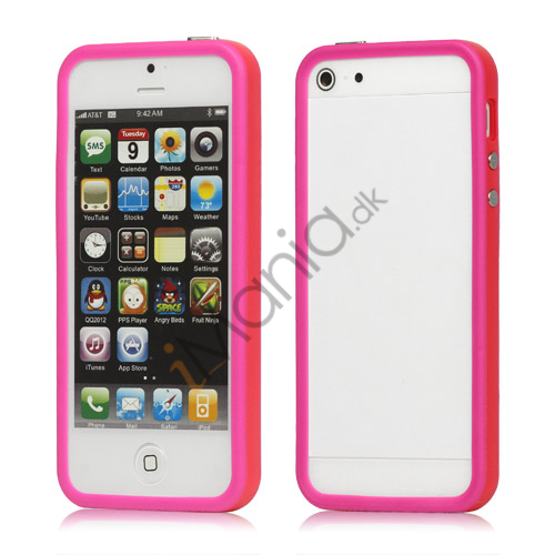 Plastic  and  TPU Hybrid Bumper Ramme Case til iPhone 5 - Rød / Lilla
