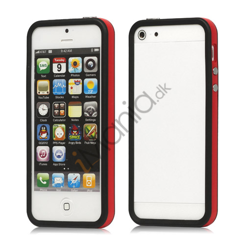 Plastic  and  TPU Hybrid Bumper Ramme Case til iPhone 5 - Rød / Sort