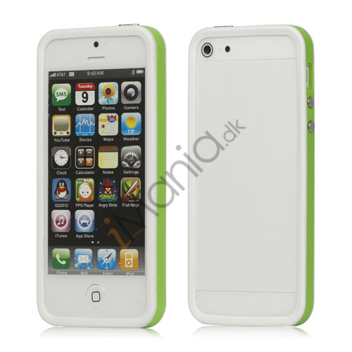 Plastic  and  TPU Hybrid Bumper Ramme Case til iPhone 5 - Grøn / Hvid