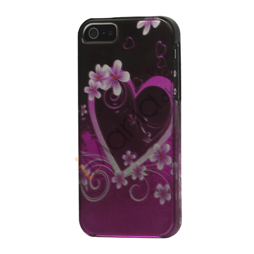 Image of   Hjerte-og blomstermønster Snap-on Hard Case Shell til iPhone 5