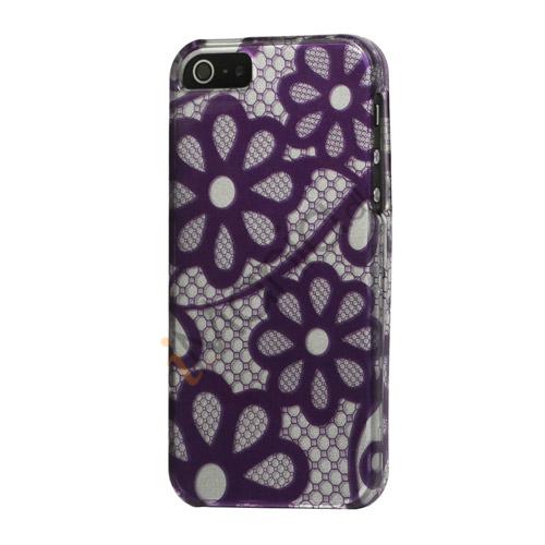 Billede af Violette blomster Snap-on Hard Case iPhone 5 cover