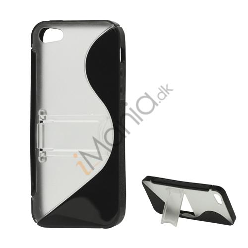 Image of   S-Curve TPU and Plastic Hybrid Case Cover med Holder til iPhone 5 - Sort