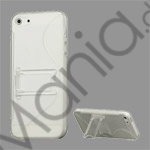 S-Curve TPU  and  Plastic Hybrid Case Cover med Holder til iPhone 5 - Gennemsigtig