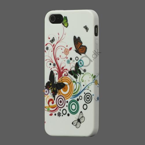 Billede af Sommerfugle Blomster TPU Taske iPhone 5 cover