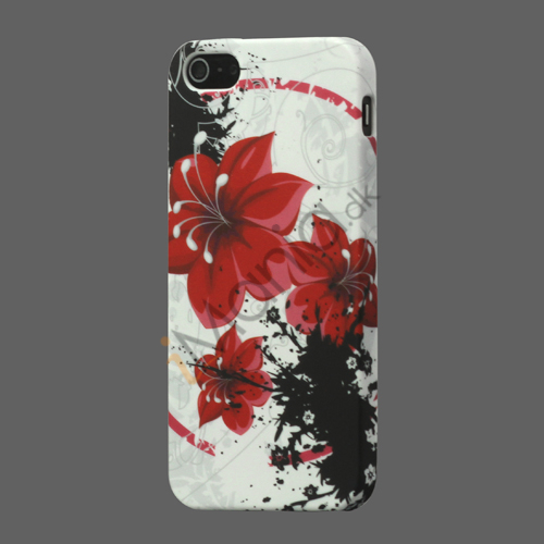 Image of   Røde blomster TPU Gel iPhone 5 cover