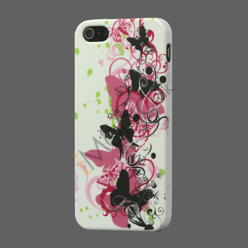 Vivid Sommerfugle TPU Gele Cover Case til iPhone 5