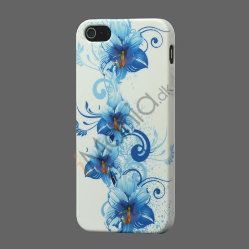 Billede af Blå Blomst TPU Taske Cover til iPhone 5