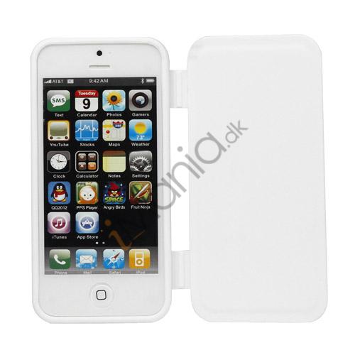 Image of   Dobbelt For- og bagside TPU Gel Case iPhone 5 cover - Hvid