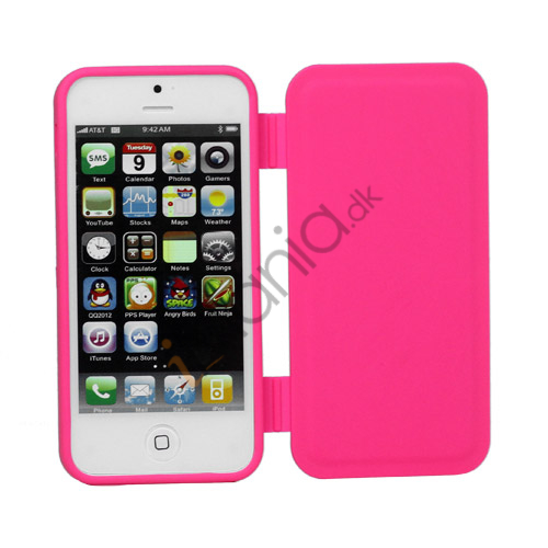 Dobbelt For- og bagside Gel TPU Case iPhone 5 cover - Rose
